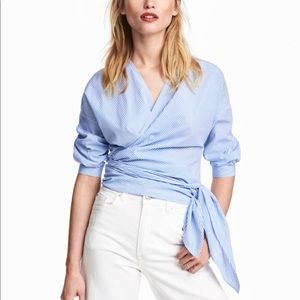 White & Blue Stripe Wrap Self Tie Blouse
